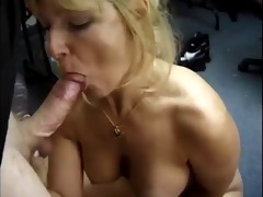 classic golden-haired cougar sucks penis