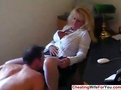 aged sexy secretary drink cum
