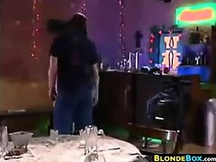 blond whore fingered and drilled at a bar