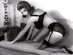 bed undress - vintage stockings nylons striptease