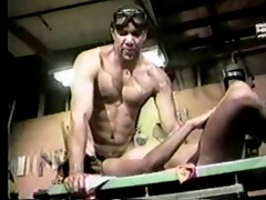 dark couple fucking in a garage shop!