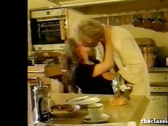 breasty retro honey sucks knob in the kitchen