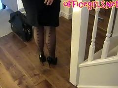 big scones aged secretary in stockings