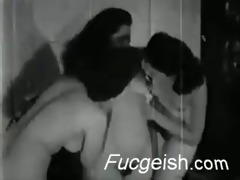 classic lesbian orgy with sexy vintage honeys