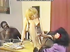 interracial trio in retro clip