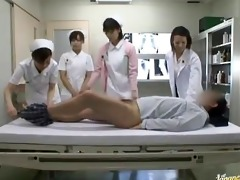 slutty oriental nurses take turns riding patient
